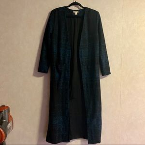 H&M Black/Navy Wool Duster Size 4
